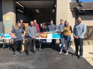 Maine Township staff members were on hand recently to help take donations and distribute prepared boxes from the Food Pantry.
